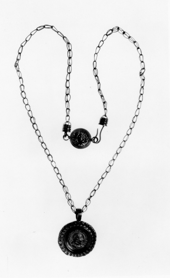 Necklace with Medusa Medallion and Coin of Valerian Mounted as Pendant