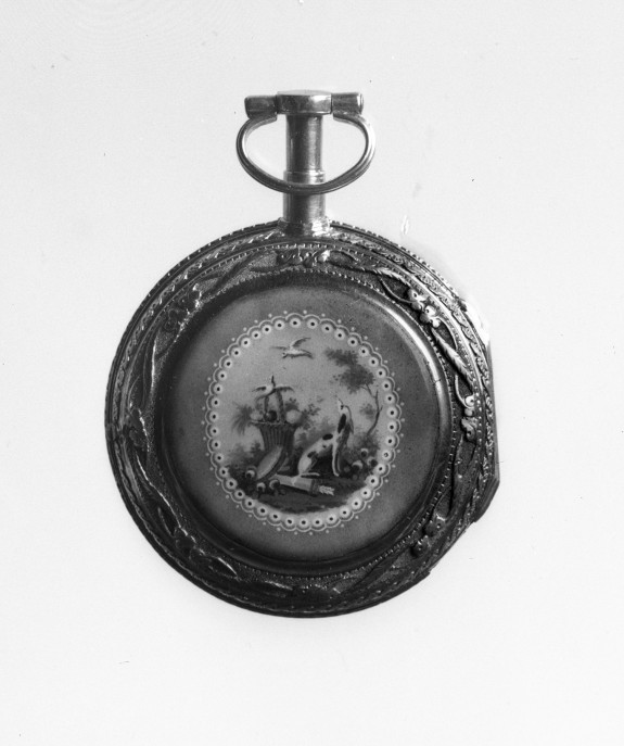 Watch with emamelled panel of emblems of Love