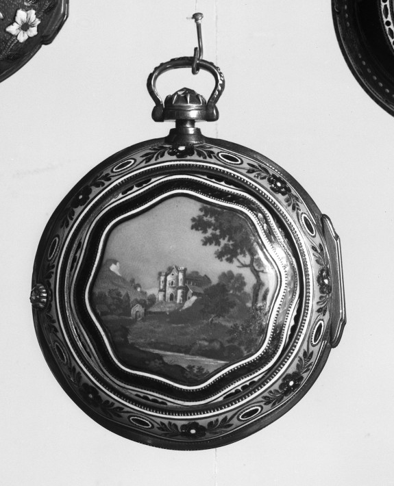 Watch in Pair Case with Country Landscape