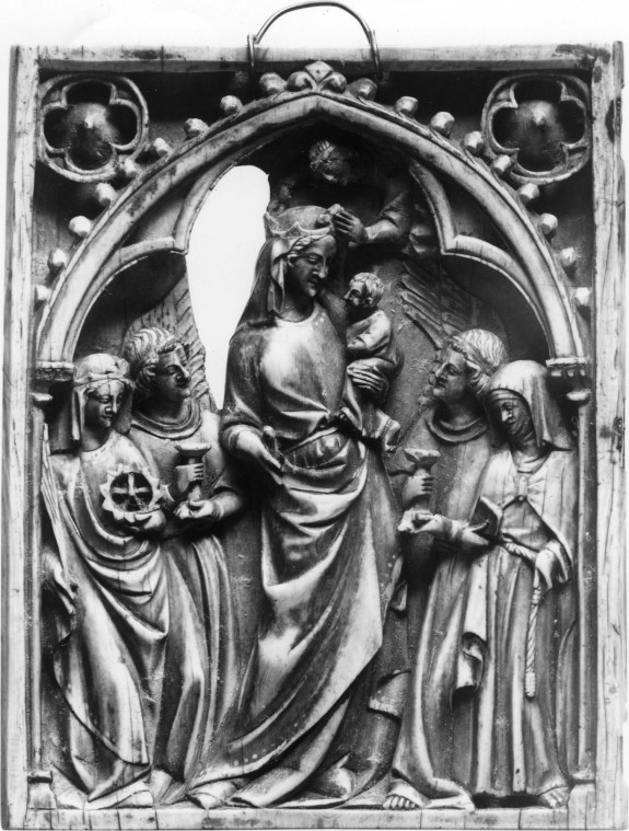 Diptych Leaf with Virgin, Child, Saints and Angels