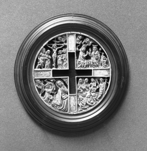 Cover of an ivory box with scenes from the life of Christ and the Virgin