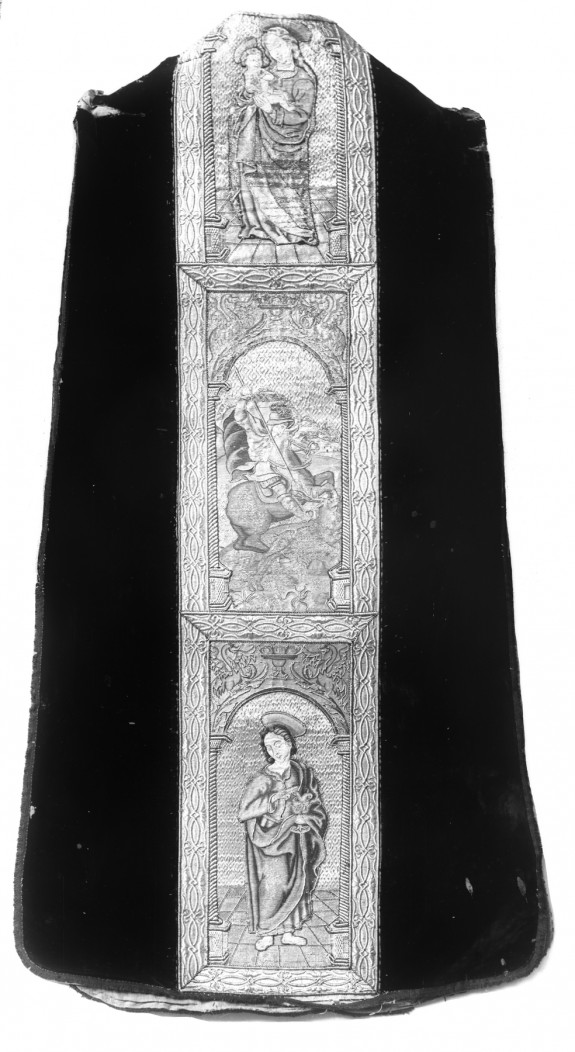 Orphrey on a chasuble; Madonna and Child, Saints
