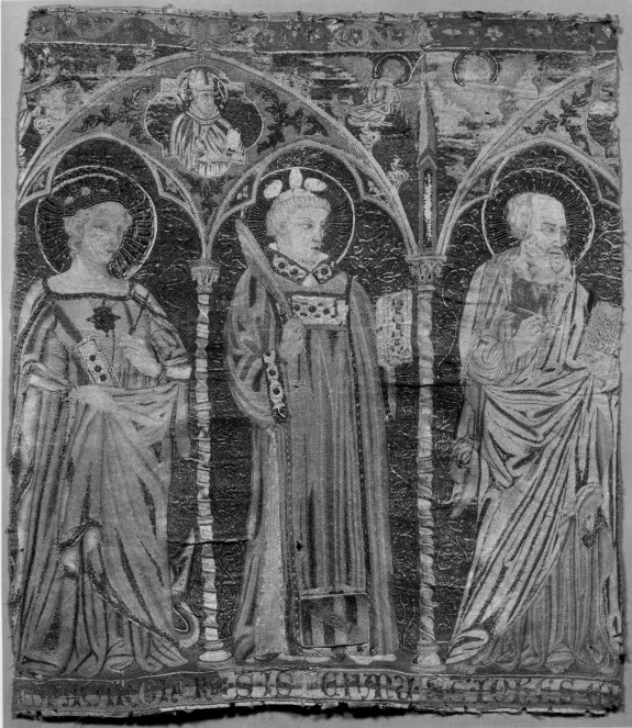 Embroidered Altar Frontal with Saints Paul, Lawrence, and Catherine