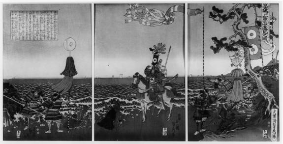 Triptych: Izu no Oshima yori Fujisan enken no zu