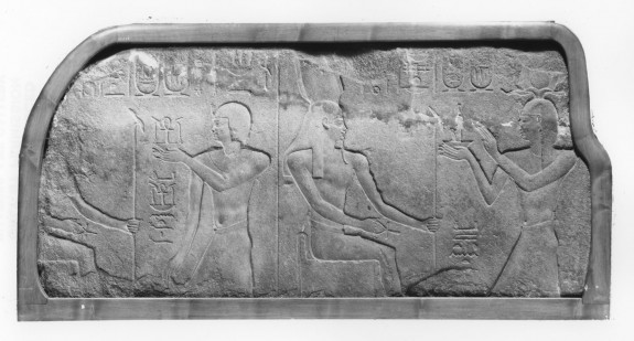 Temple Relief Fragment of Ptolemy II Offering to Osiris and Another God