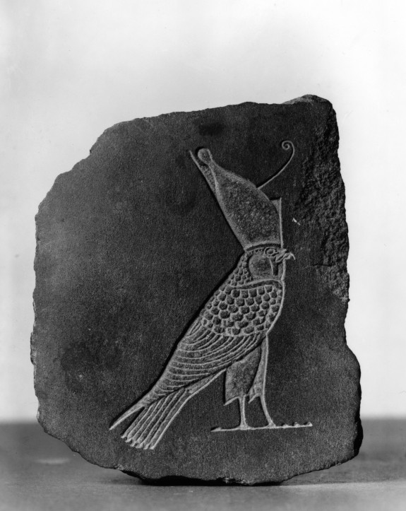 Model (?) of a Hawk Wearing the Crowns of Upper and Lower Egypt