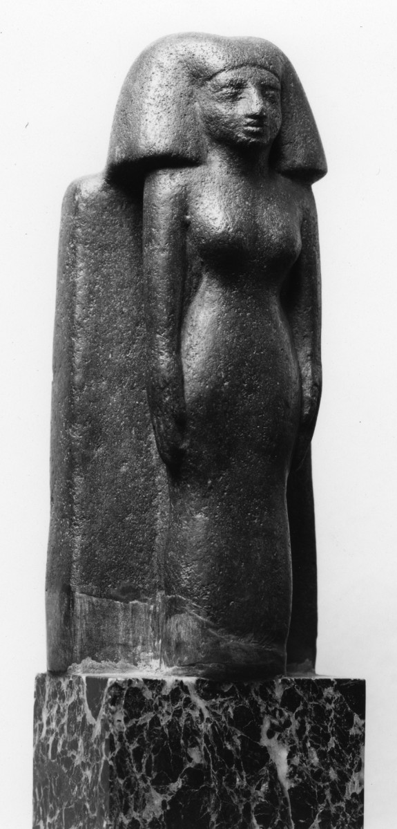 Standing Woman Before a Broad Stele