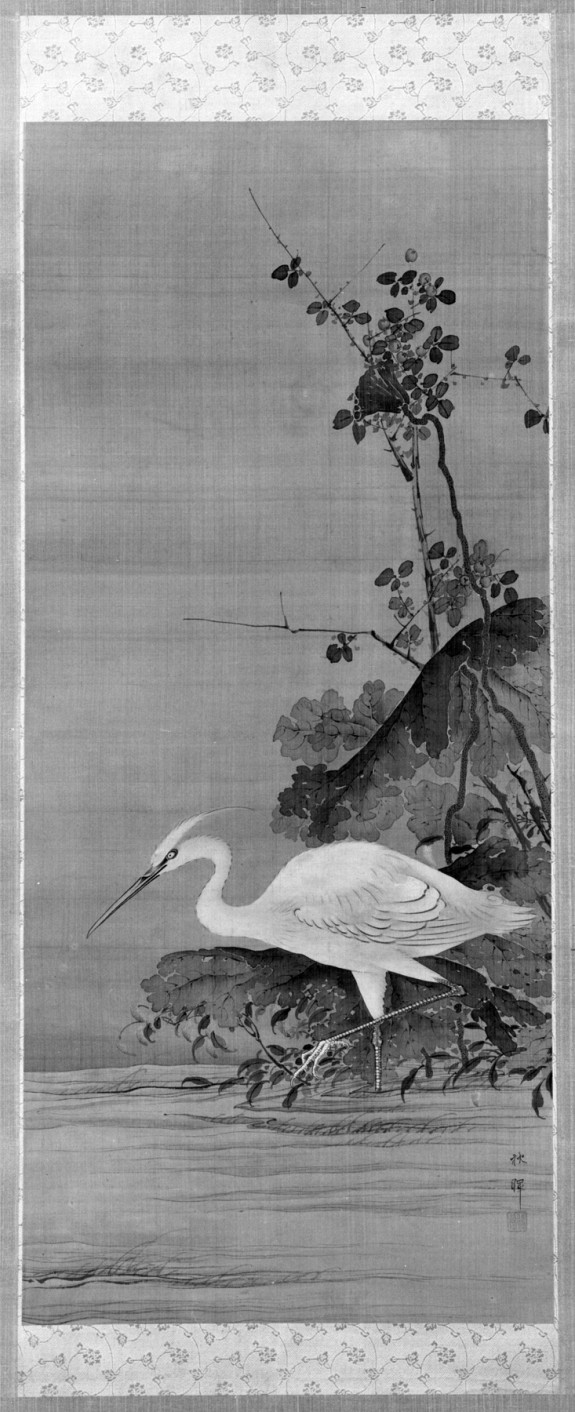 Scroll painting of White Heron in a Lotus Pond