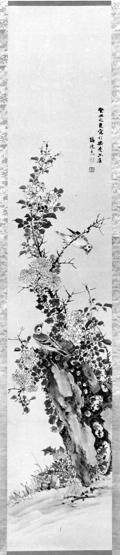 Scroll Painting with Sparrows, Flowering Plants, and Rock