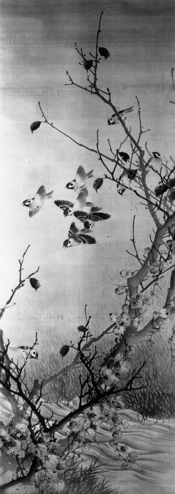 Nine Sparrows in Autumn Foliage