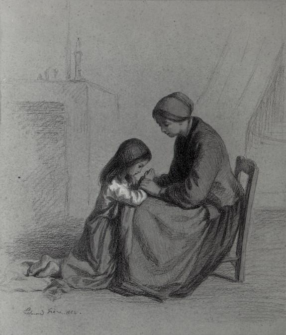 Child Praying at Mother's Knee