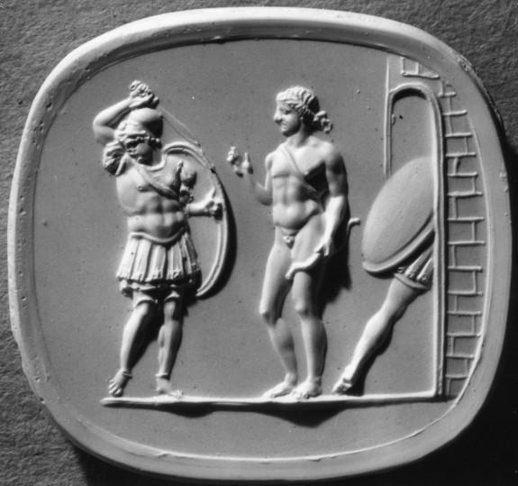 Intaglio with Apollo and Achilles Set in a Ring