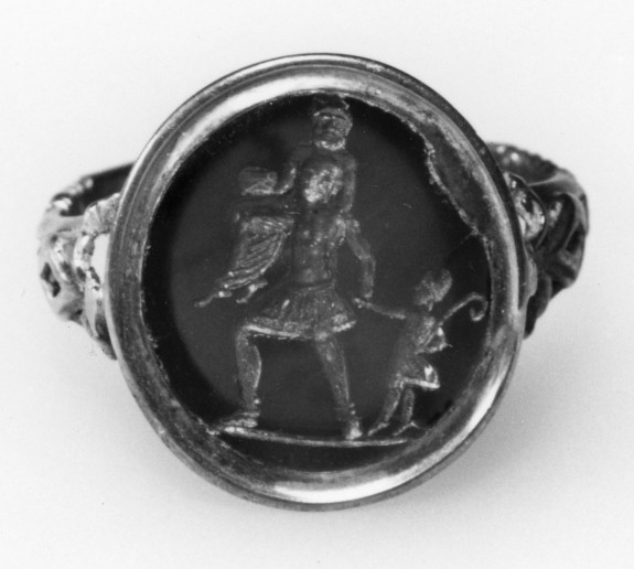 Intaglio with Aeneas Escaping Troy Set in a Ring