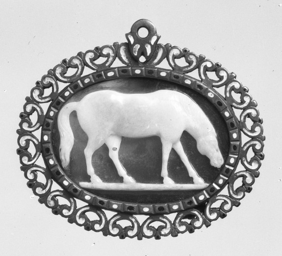 Cameo with Horse Grazing