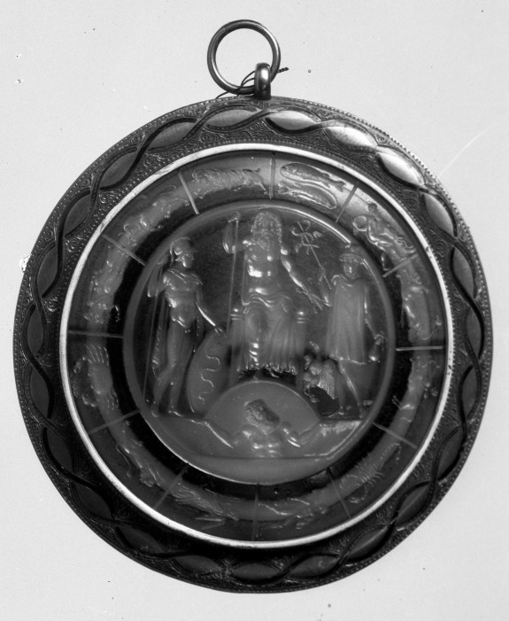 Intaglio with Jupiter, Mars, and Mercury Surrounded by the Zodiac Set in a Pendant