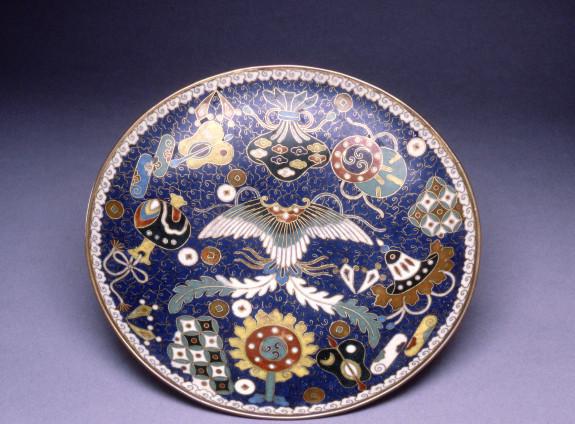 Cloisonne Enamel Dish Depicting the