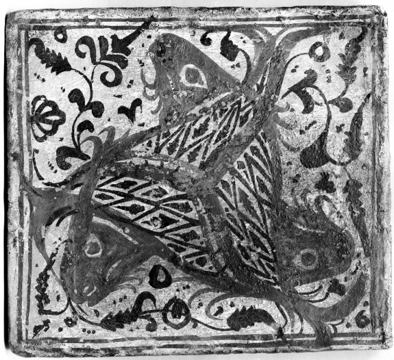 Ceiling Tile (socarrat) with Leaping Fish