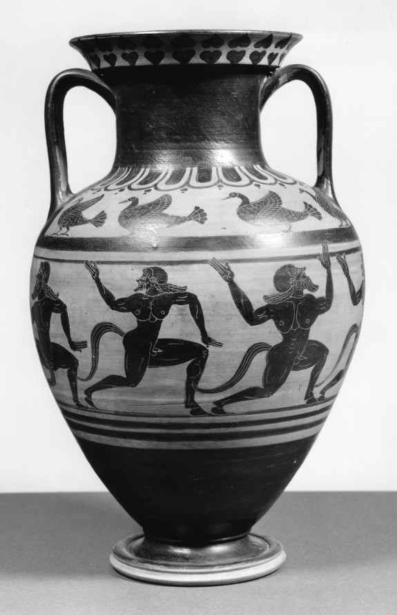 Amphora with Running Satyrs