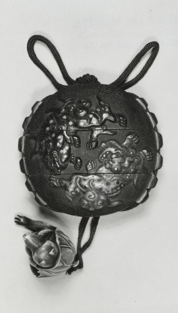 Inro with Lions and Elephant, Netsuke of Badger Sitting in Lotus Leaf