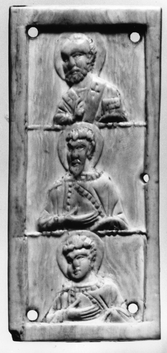 Triptych Leaf with Three Saints and Cross on the Back