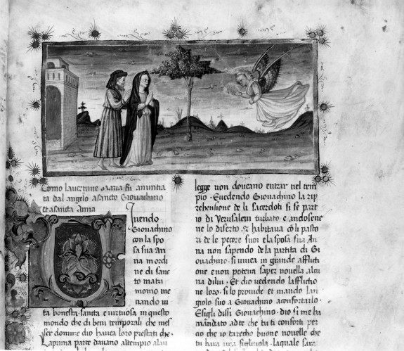 Leaf from the Life of the Virgin: Annunciation to Joachim and Anna