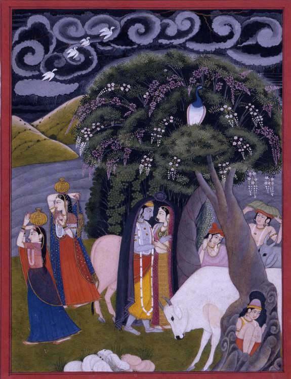 Krishna and Radha Taking Shelter from the Rain