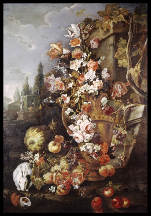 Still Life of Flowers and Fruits in a Garden