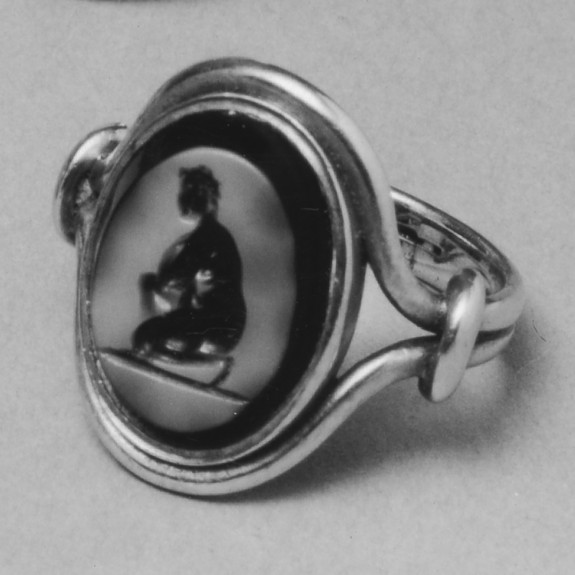 Intaglio with Crouching Venus Set in a Ring