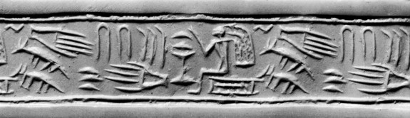 Cylinder Seal with Offering Scene and Hieroglyphs