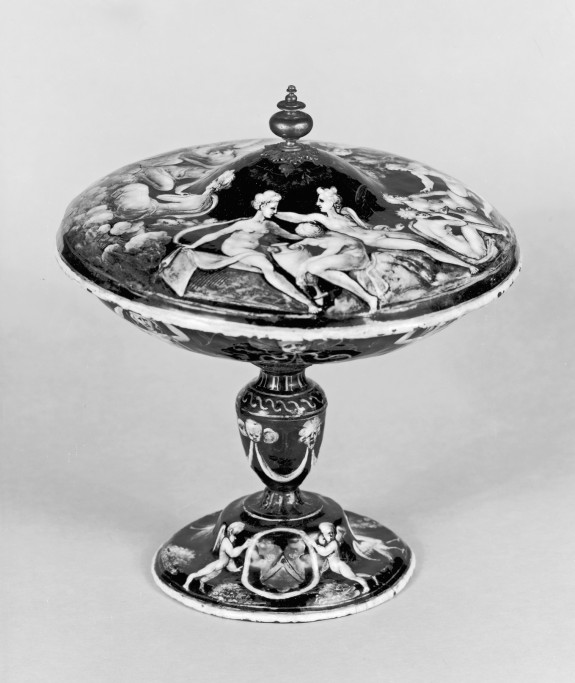 Footed Dish with Battle and Lid with Gods