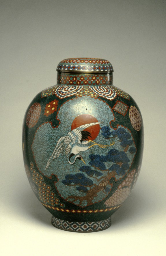 Covered Jar with Crane