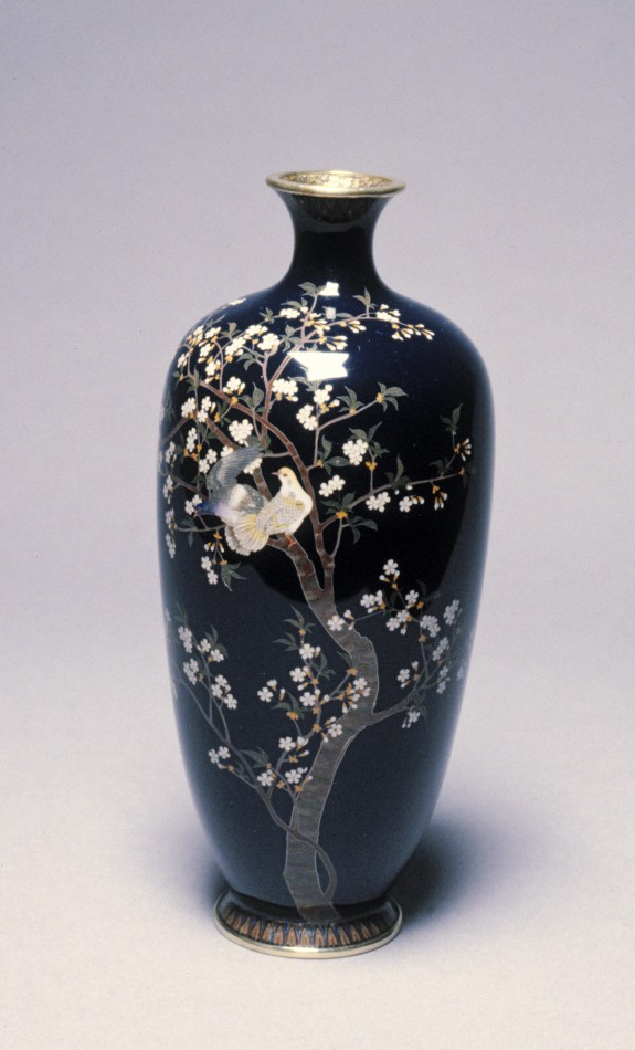One of a Pair of Vases with Doves and  Apricots