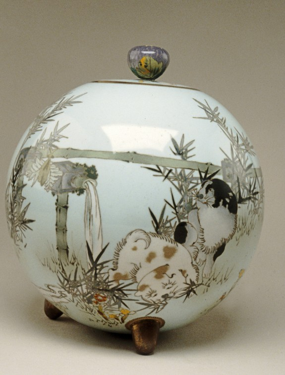 Spherical Jar with Puppies