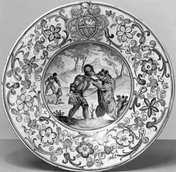 Plate with Two Knights Fighting Bears