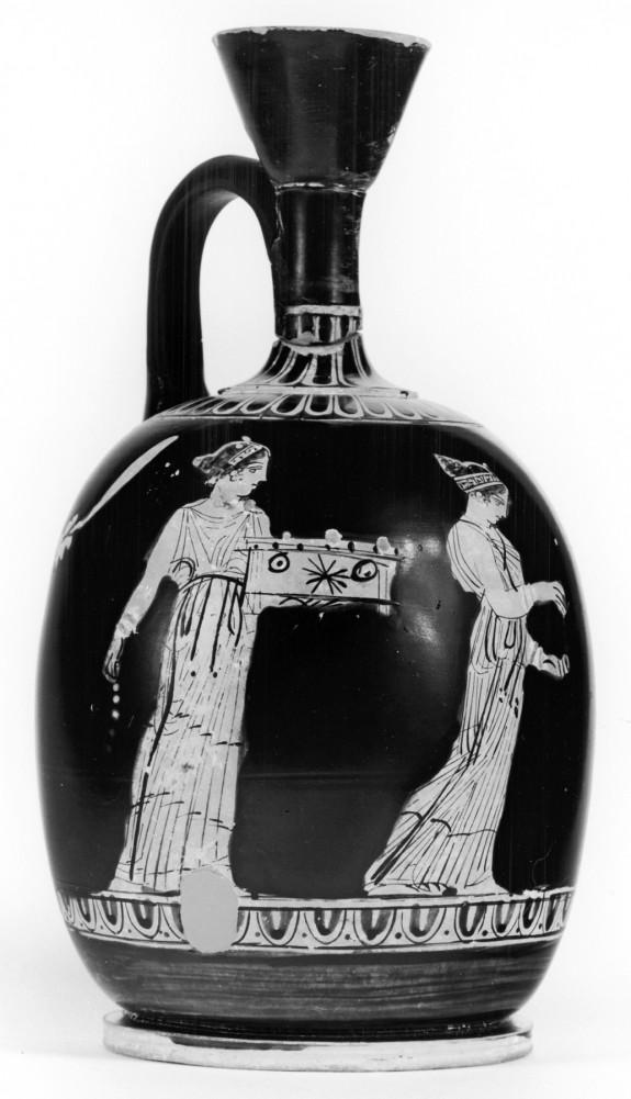 Squat Lekythos Depicting Eutychia, Eunomia and Paidia