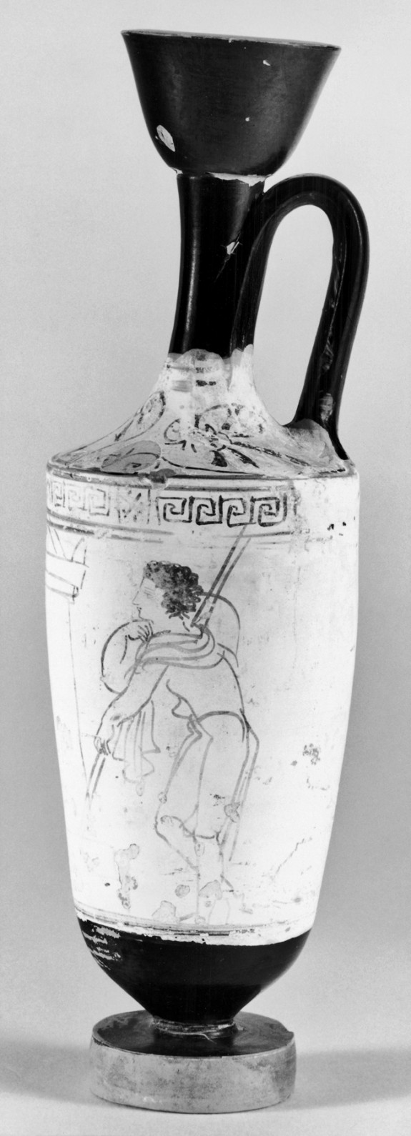 Lekythos with Two Figures and Winged Sepulchur