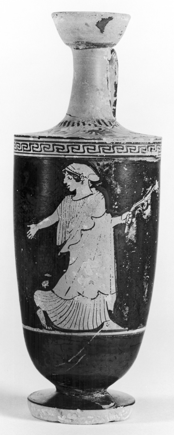 Shoulder Lekythos with Woman and Floral Spray