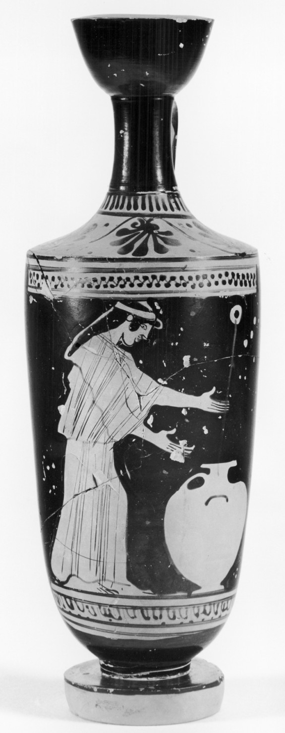 Shoulder Lekythos Depicting a Woman with a Hydria at a Fountain
