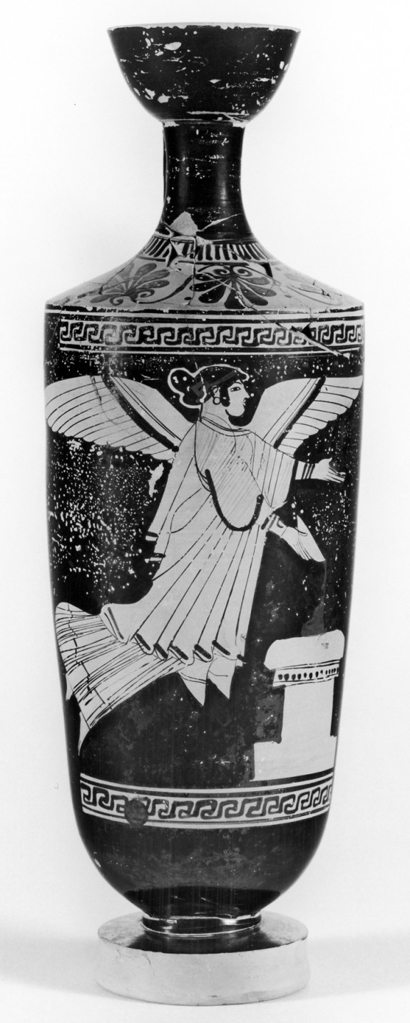 Shoulder Lekythos Depicting Nike (?) Pouring from a Patera at an Altar