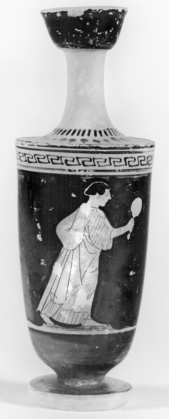 Shoulder Lekythos with Woman Holding a Mirror