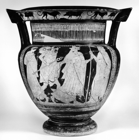 Column Krater with Hermes and the Komos