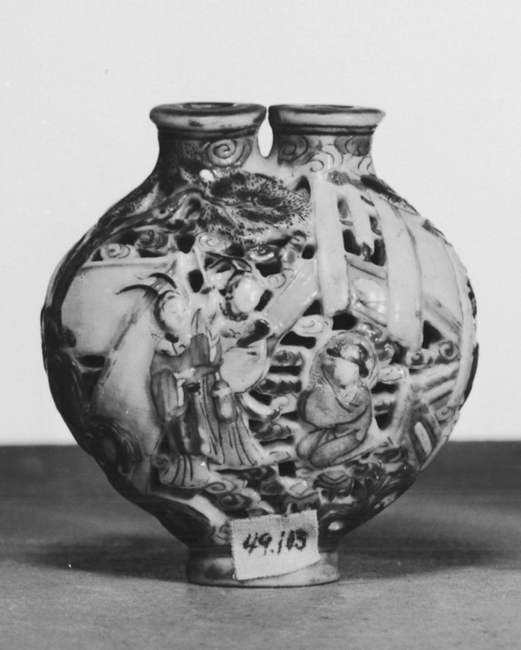 Snuff Bottle with Figures among Clouds