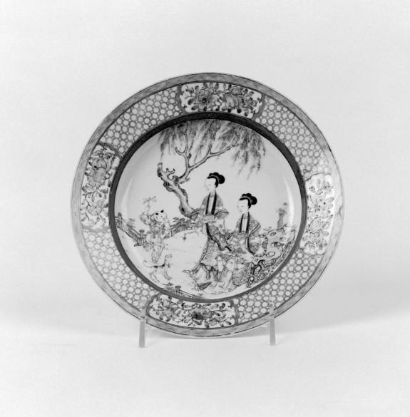 Dish with Garden Scene