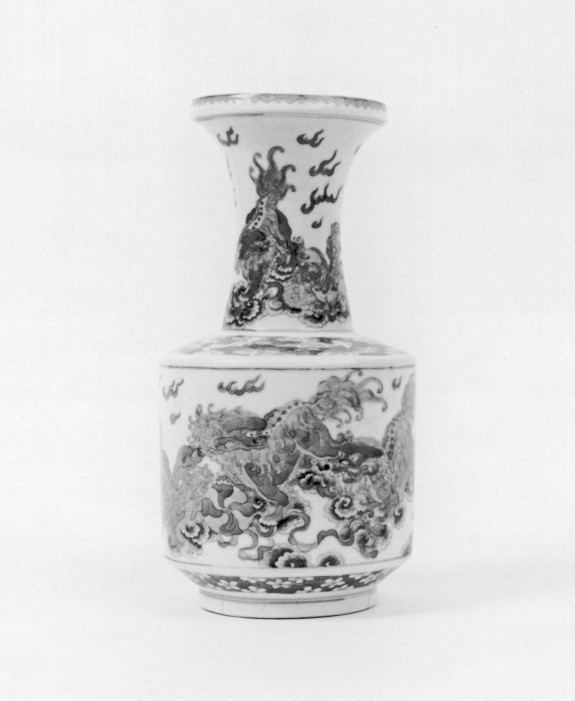 Vase with Lions and Tasseled Balls
