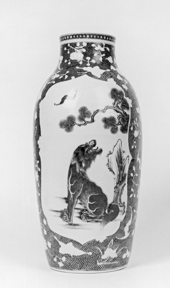 Vase with Lions and Bats in Panels