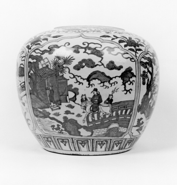 Wine Jar with Scenes of Scholars