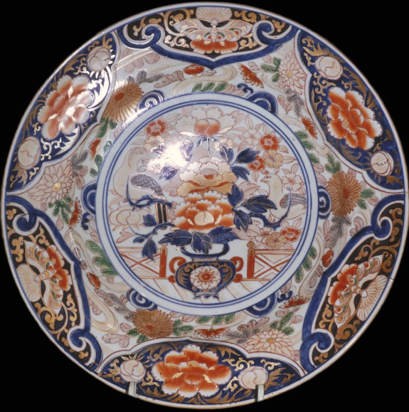 Dish with Vase and Flowers