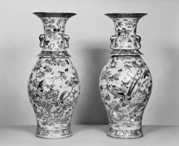 Pair of Vases with Flowers, Insects, and Birds
