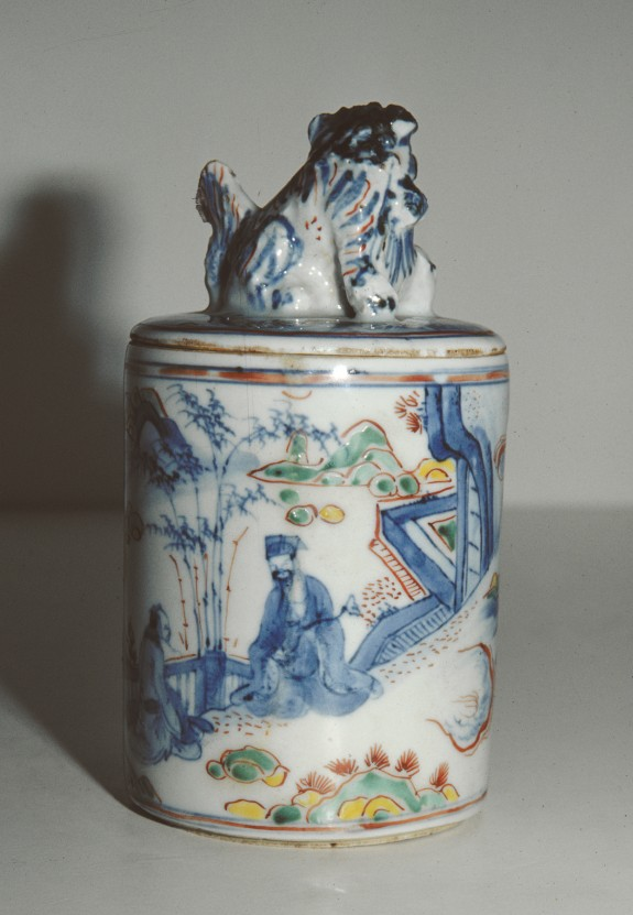 Covered Enameled Jar