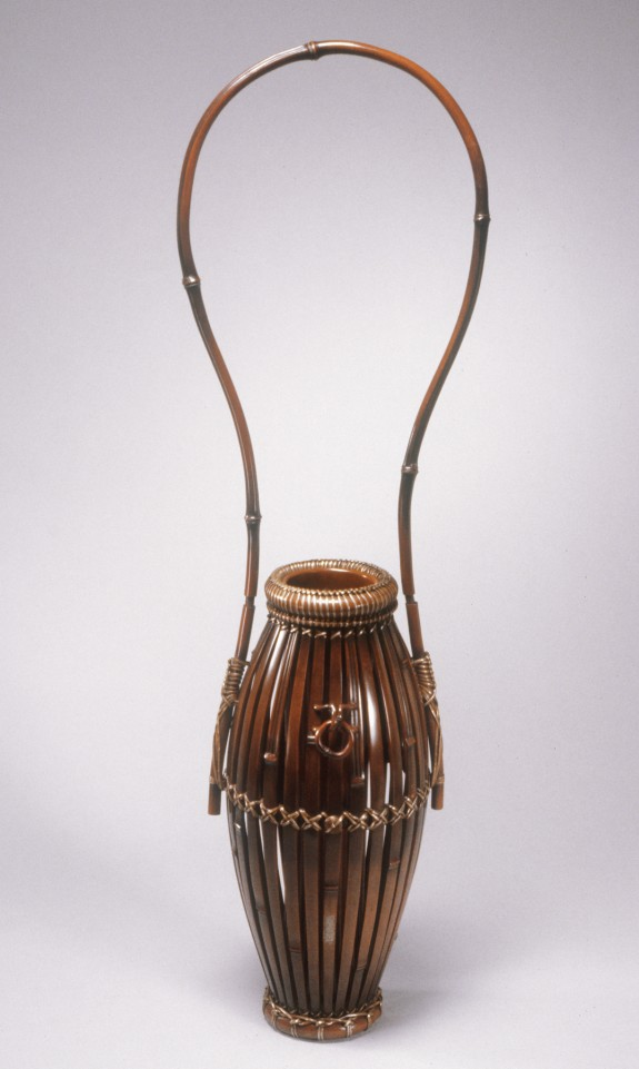 Hanging Vase Imitating a Bamboo Basket with an inner cylindrical container